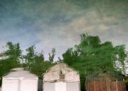 Lake Relections Prints - Boathouses with Sky and Trees Print by Michelle Calkins