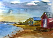 Victoria Paintings - Boathsheds II by Therese Alcorn