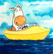 Moo Moo Paintings - Boating Cow by Scott Nelson