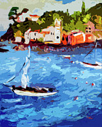 Europe Painting Acrylic Prints - Boating in Sestri Levante Italy Acrylic Print by Ginette Fine Art LLC Ginette Callaway