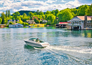 Lakeside Paintings - Boating Lake George New York by Anne Kitzman