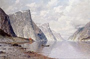 Mountain Prints - Boating on a Norwegian Fjord Print by Johann II Jungblut