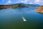 Fishing Creek Posters - Boating on Deer Creek Reservoir Poster by Utah Images