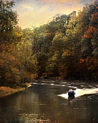 Autumn Landscape Framed Prints - Boating on the Hatchie Framed Print by Jai Johnson