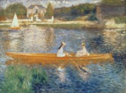 Boat Reflection Framed Prints - Boating on the Seine Framed Print by Pierre Auguste Renoir