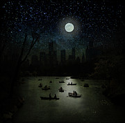 In-city Posters - Boating Under Full Moon Poster by Robert Dalton