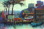 Impressionism Pastels Originals - Boatmans Retreat by Pamela Pretty