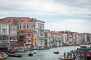 Moored Framed Prints - Boats And Gondolas In Grand Canal Framed Print by AlexandraR