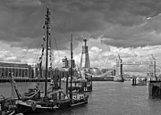Timeline Framed Prints - Boats and Shard and Tower Bridge BW Framed Print by Gary Eason