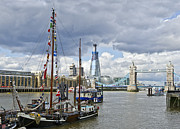 Shard Prints - Boats and Shard and Tower Bridge Print by Gary Eason
