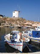 Greek Photos - Boats and windmill by Jane Rix