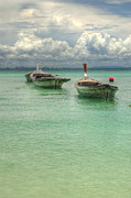 Long Tail Prints - Boats Andaman Sea Print by Ron Schwager
