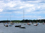 Boat Races Framed Prints - Boats at Cape Cod Beach Framed Print by Annie Zeno