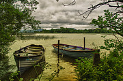 Lough Prints - Boats at Holy Island County Clare Ireland Print by Joe Houghton