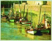 Boats At Dock Photo Posters - Boats at Honfluer France Poster by Fred Jinkins