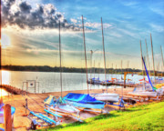 Boats At Lake Decatur Print by Ann Higgens