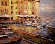 Portofino Italy Originals - Boats at Portofino by R W Goetting