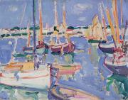 Boats On Water Framed Prints - Boats at Royan Framed Print by Samuel John Peploe