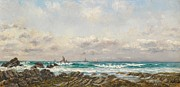 Rough Waters Prints - Boats at Sea Print by William Lionel Wyllie