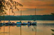 Boat Framed Prints Art - Boats At Sunrise by Steven Ainsworth