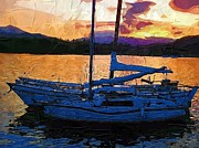 Digita Art Digital Art - Boats at Sunset by Amanda Moore