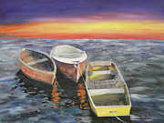 Paddles Paintings - Boats at Sunset by Sue Taylor