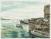 Waterscape Painting Prints - Boats At The Dock Print by Samuel Showman