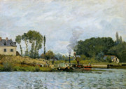 Boats On Water Painting Framed Prints - Boats at the lock at Bougival Framed Print by Alfred Sisley