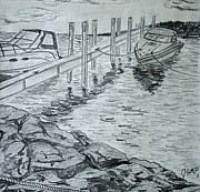 Dock Drawings Originals - Boats by Mackinac by Jason Sotzen