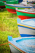 Ashore Posters - Boats in a row II Poster by Silvia Ganora