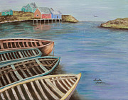 Boats In Water Paintings - Boats in Maine by Linda Krider Aliotti