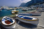 Small Boats Prints - Boats in Marina Grande Print by George Oze