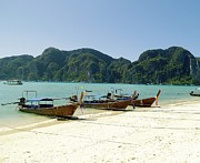 Phuket Prints - Boats In Row Print by Gitpix