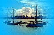 San Diego Artist Digital Art - Boats In The Bay by Visual Artist  Frank Bonilla