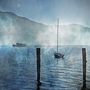 Fog Mist Posters - Boats In The Fog Poster by Joana Kruse