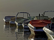 Reflections Prints - Boats In The Fog Print by Richard Gregurich
