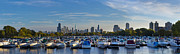 Sky Line Art - Boats in the Harbor in Chicago by Twenty Two North Photography