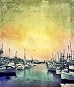 Docked Sailboat Prints - Boats in the Harbor Print by Jill Battaglia