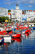 Red Buildings Posters - Boats in the Harbor - La Coruna Poster by Mary Machare