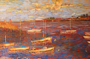 Rockport  Ma Paintings - Boats in the Harbor by Robert Scott