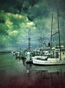 Docked Boats Framed Prints - Boats in the Harbor with Storm Clouds Framed Print by Jill Battaglia