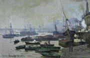 Sail Boats Posters - Boats in the Pool of London Poster by Claude Monet