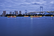 Man Made Space Prints - Boats In Tokyo Bay With Rainbow Bridge Print by Bryan Mullennix