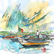 Skies Drawings Posters - Boats in Torreira in Portugal 02 Poster by Miki De Goodaboom