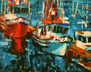 Boats Paintings - Boats In Turquoise by Brian Simons