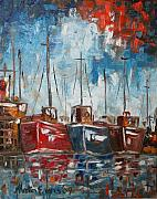 Boats In Water Paintings - Boats by Martin Evans