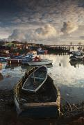 Overcast Day Prints - Boats Moored Along The Shoreline Print by John Short