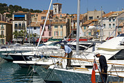 Residential Structure Prints - Boats Moored At The Fishing Port In Cassis Print by Glenn Beanland