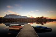 Moored Photos - Boats Moored By Boardwalk At Lake St. Helen by Omalorig