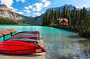 British Columbia Posters - Boats on a Dock  Emerald Lake Canada Poster by George Oze